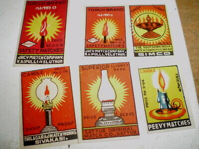 6Very old  diff match box covers from India - Near mint -  Lamp flames