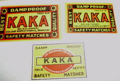 3 Very old  diff match box covers from India - Near mint -  Kaka Dampproof