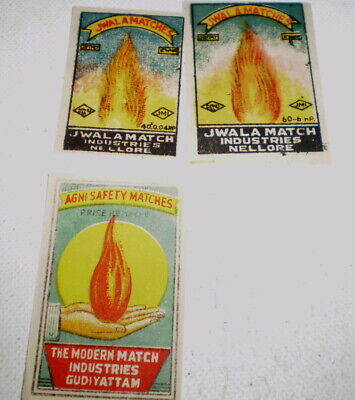 3 Very old  diff match box covers from India - Near mint -  Match flame