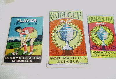 3 Very old  diff match box covers from India - Near mint -  Gopi Cup