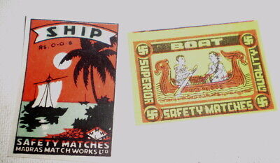 2 Very old  diff match box covers from India - Near mint -  Boats