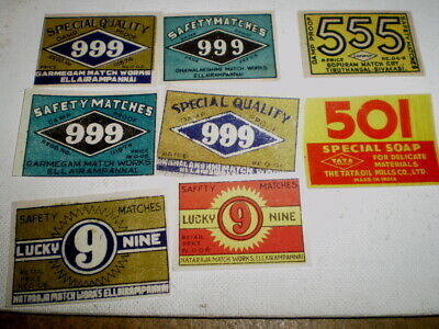 8 Very old  diff match box covers from India - Near mint -  999, 9, 555