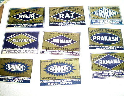 9 Very old  diff match box covers from India - Near mint -  Match companies