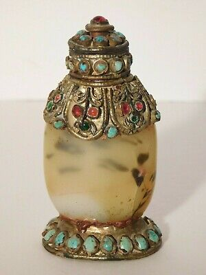 Old Chinese Tibetan Carved Agate Filigree Snuff Bottle w/ Turquoise + Red Stones