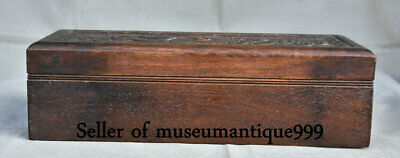 """14"""" Ancient Huanghuali wood Dynasty Carved Double Dragon jewelry Box cabinet"""