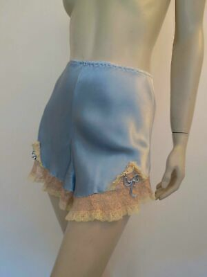 Vintage Blue Satin Tap Pants, French Knickers, With Lace Trim - Small