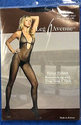 Leg Avenue Black Halter Fishnet Bodystocking