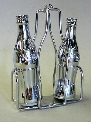 Lovely Chrome Coca-Cola Salt & Pepper Shakers with Chrome Caddy