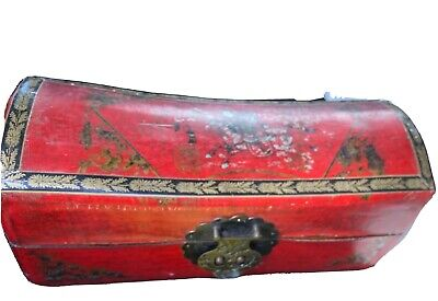 Vintage Chinese Wood and Leather Pillow Box Warrior With Sword
