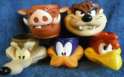 *JR100a* Set of 5 Warner Brothers Looney Tunes KFC Collectable 3D Plastic Mugs