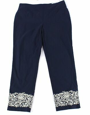 Charter Club Womens Pants Blue Size 16W Plus Tummy Slim Slim-Leg Stretch $79 220