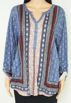 Style & Co. Womens Blouse Blue Multi Size 2X Plus Button Down Tunic $49 122