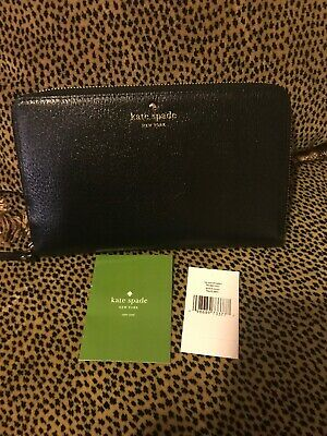 New Kate Spade Grand Street Leather Black Zip Around Xl Travel Wallet Clutch