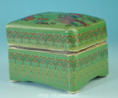 china old green glaze porcelain hand-made child box /qian long mark Cb01F