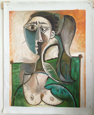 """Pablo Picasso Spanish Artist Oil Painting Bust of a Woman Vintage Canvas 24x30/"""""""