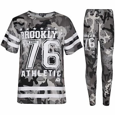 Kids Girls Adios Crop Top Legging Set Camouflage Charcoal Tracksuit Jogging Suit