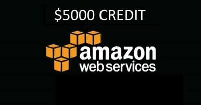 AWS - Amazon Web Services $5,000 Credits  - valid 2 years