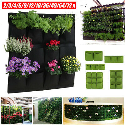 2~72Pocket Planting Bag Hanging Wall Vertical Planter Hanging Flower Herb Garden