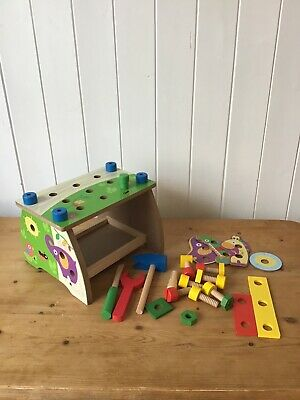 Toddler colourful wooden tool bench - accessories & tools