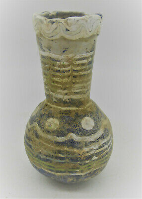 Circa 500 Bce Ancient Phoenician Mosaic Sandcore Formed Glass Vessel