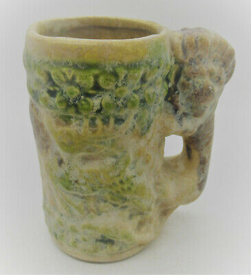 Byzantine Era Ancient Islamic Glazed Terracotta Vessel With Lion Handle Rare