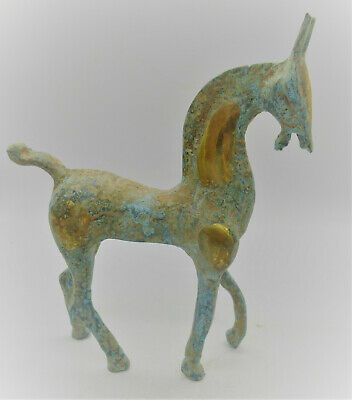Beautiful Ancient Celtic Gold Gilded Bronze Horse Statuette Superb