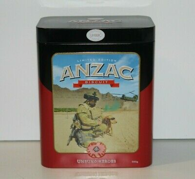 T2035  UNIBIC Anzac Biscuit Tin Unsung Heroes Limited Edition  Empty 2020