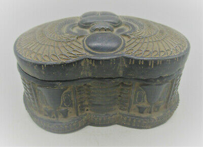 Beautiful Ancient Egyptian Black Stone Box With Depiction Of A Scarab