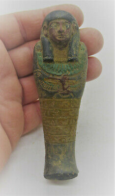 Ancient Egyptian Faience Ushabti Shabti With Heiroglyphics Ca 664-332Bce