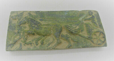 Circa 200-300Ad Ancient Roman Bronze Panel Depicting Horses & Gladiator