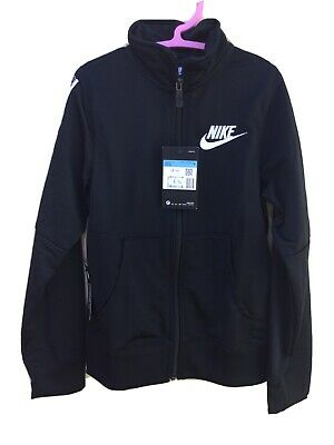 Nike Size Med Girls Black Zip Front Sports Jacket New