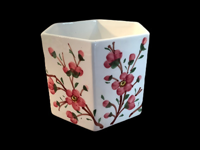 Vintage White Ceramic Planter Pot Hexagon Pink Handpainted Floral Made in Italy