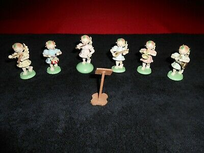 6 Small Vintage  Carved Wooden Figures - angels playing instruments