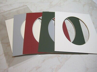 4 Mounts 8 x 6 Plus Backs & New Clear Bags, Grey Red Green & White Oval – Lot 16
