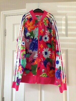 Adidas tracksuit girls floral pink / multi - coloured size 11/12 years