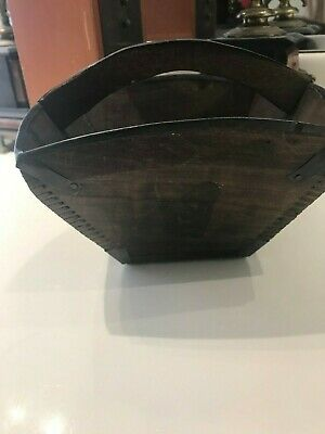 Antique Chinese Wooden Rice Picker Or Water Basket Marked