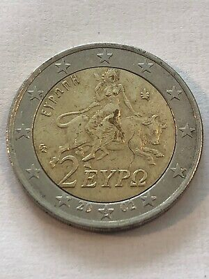 VARIETY! Famous 2 Euro 2002 with (S) Greece! With die crack on two! Rare Coin!