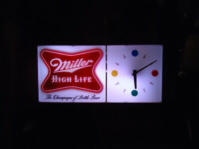 Extremely Rare Antique Miller  High Life Beer Light Clock Bar Sign Unused