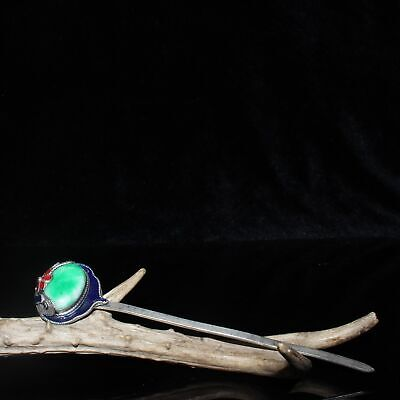 Exquisite Chinese old antique copper inlay jade Handmade Cloisonne Hairpin /Wa02