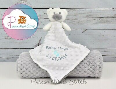Personalised Baby Comforter & Blanket Set / Teddy / Embroidered Baby Shower Gift