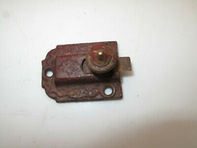 Antique 1871 Hoosier Cabinet Latch Lock Pull Cast Iron Ornate Victorian Vtg Red