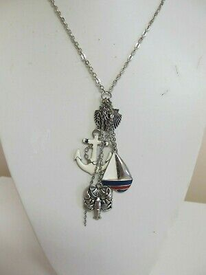 Enamel & Silver Tone Pendant With Dangles Anchor Boat Shell & Lobster