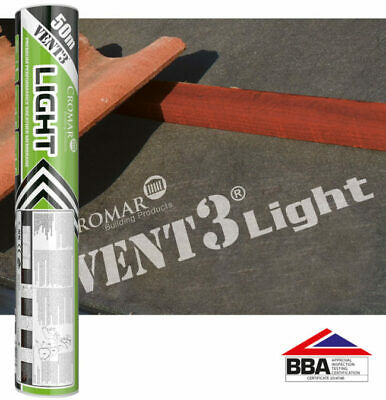 Cromar Vent 3 Light | Breathable Roofing Membrane | 1x50m | BBA Approved |