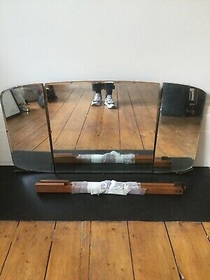 Vintage Mid Century Alfred Cox / Heals Triple Dressing Table Mirror And Fixings