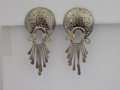 Vintage Hammered Silver Tone Dangle Clip On Earrings #7178
