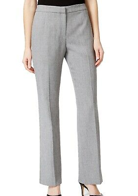 Kasper Womens Dress Pants Gray Size 10P Petite Flat-Front Stretch $69- 435