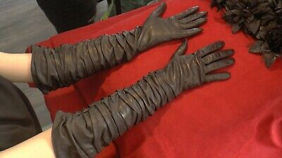 handmade Long authentic sheepskin gloves. Size 7. Lenght 18""