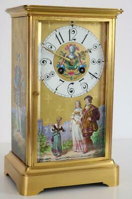 ANTIQUE FRENCH MANTEL CLOCK with PAINTED PORCELAIN PANELS in AESTHETIC MANNER