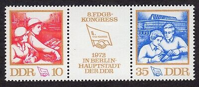East Germany; Trade Unions Federation Congress; unmounted mint (MNH) strip