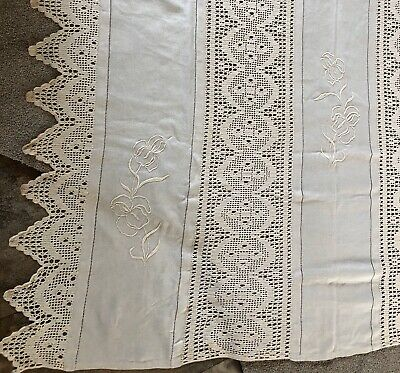 Large Early 1900s Linen Tablecloth